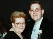 Charles Ornstein with his mother Harriet Ornstein on his wedding day, weeks after she was mugged in a parking lot and knocked to the pavement with a broken nose. (Randall Stewart, Photo courtesy of Charles Ornstein)