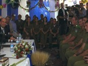 Prime Minister Ariel Sharon meets new immigrant soldiers during the traditional reception on Sukkot holiday at the prime minister's residence in Jerusalem. GPO photo by Ohayon Avi.