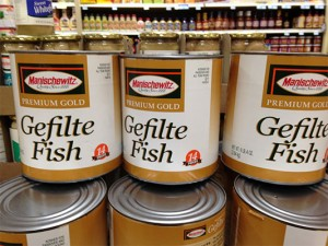 Institutional size cans of gefilte fish, suitable for Jewish camps or rabbinical seminaries, on sale at ShopRite, Cherry Hill, NJ. (Steve Lubetkin photo)